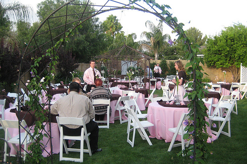 Very Small Backyard Wedding Ideas : Hire some simple white tables and chairs Dress the tables with